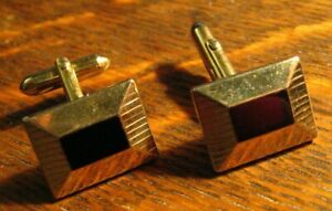 Swank Gold Ruby Mid Century Cufflinks - Vintage Raised Rectangle Mod Cuff Links