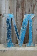 MEDIUM VINTAGE STYLE 3D BLUE M SHOP SIGN LETTER TIN WALL ART LETTER FONT 8 INCH