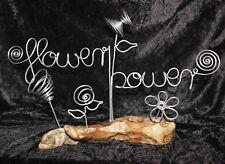 FLOWER POWER Dekoschrift Schriftzug Schild Aludraht auf Schwemmholz B46 x H29cm