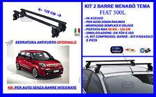 Barre Portatutto Portapacchi Portabagagli Acciaio - Fiat 500 L  5 porte 2012>