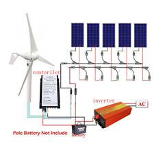 1.2KW System:400W Wind Turbine Generator + 5x 160W Solar Panel + 1000W Inverter