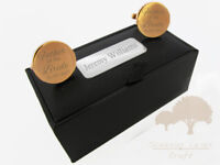 Engraved round Gold Cuff links /& Personalised Gift Box stag party gclr15