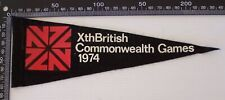 VINTAGE 1974 Xth BRITISH COMMONWEALTH GAMES SOUVENIR PENNANT CLOTH WALL FLAG
