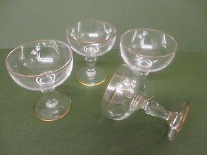 FOUR FLOWER PATTERNED - STEMMED CHAMPAGNE GLASSES/COUPS