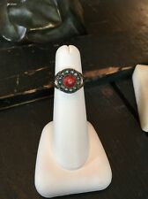 ANTIQUE MOURNING MEMORIAL SEED PEARL PASTE STONE 8K RING STUNNING