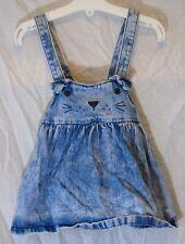 Baby Girls Next Blue Acid Wash Denim Cat Face Dungaree Dress Age 12-18 Months