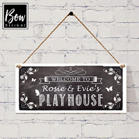 CHALKBOARD STYLE PLAYHOUSE SIGN - PERSONALISED SUMMERHOUSE HANGING SIGN - 203