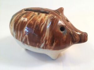 ANTIQUE Vintage Yellow Ware PRIMITIVE FOLK ART Stoneware Pottery PIG BANK