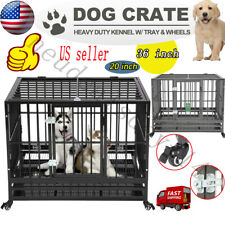 "20'、36"" Dog Crate Large Kennel Cage Heavy Duty Metal Pet Playpen W/Wheels & Tray"