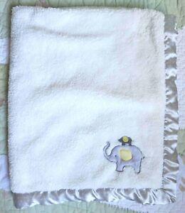Child of Mine Elephants Gray & Yellow Thick Plush White Sherpa Baby Blanket EUC