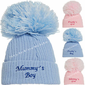 BABY GIRLS BOYS KNITTED HATS NEWBORN POMPOM BOBBLE PINK BLUE 0-3 MONTHS HATS