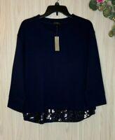 NWT J. Crew Black Label Sweatshirt w Sequins Women's Size Medium M Navy Blue