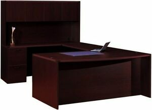 Bow Front Executive Office desk with Hutch and 1 pedestal Cherryman Amber Series