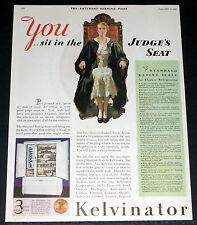1931 OLD MAGAZINE PRINT AD, KELVINATOR REFRIGERATOR, SIDE BY SIDE, JUDGE ART!