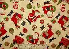 Debbie Mumm Ho Ho Holiday Christmas Santa Snowman Snow Beige Cotton Fabric YARD