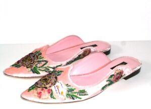 Dolce & Gabbana 'Velvet Embellished Aladino' Mules **BNWOB** Size IT39-UK6