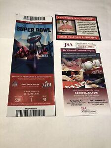 JSA Adam Vinatieri's Used Autographed Super Bowl LIII 53 TICKET 1/1