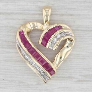 0.30ctw Ruby Diamond Open Heart Pendant 10k Yellow Gold