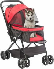 Luckyermore Pet Stroller Foldable Storage Basket Wagon Cats Dogs Travel Jogging