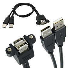 Dual USB 2.0 1 Female Socket Panel Mount to 2 USB A Male Extension Cable 30CM