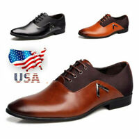 US 2019 Men Pointy toe Business Dress Formal Leather Shoes Flat Oxfords  /