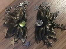 HUGE LUNCH AT THE RITZ VINTAGE ENAMEL DRAMATIC Dangle Stars CLIP EARRINGS
