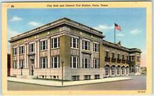 PARIS, Texas  TX    City Hall and CENTRAL FIRE STATION  ca 1940s Linen  Postcard