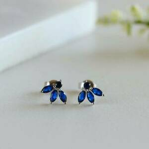 Cluster Stud Gift Earrings 1.50 Ct Marquise Cut Blue Sapphire 10k White Gold