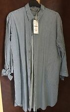 Zara Long Shirt Size L Blue & White Stripe New With Tags