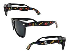 Black School Sunglasses with Painted Crayons, Pencils, Apple, Ruler, Polka Dots