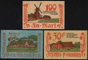 1921 Bordelum Germany Notgeld Lot 3 Rare Emergency Money Banknote Complete Set