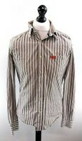 SUPERDRY Mens Shirt L Large Grey White Stripes Cotton Fitted