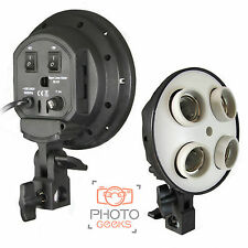 Continuous Lighting 4 Bulb Holder  Photography Lamp Studio Unit Softbox Umbrella