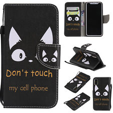 3D Painting Flip Leather Stand Case Wallet Cover For Android Phone and iPhone X