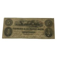 1856 South Carolina $5 Obsolete Currency Farmers & Exchange Bank Of Charleston