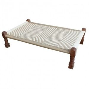 Indian Inspired Tribal Solid Wood Charpai Khat Manjhi Woven Charpoy Daybed