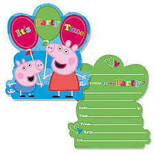Peppa George Pig Birthday Party Invitations Pack of 6