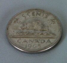 1965 Queen Elizabeth Canadian Nickel With Beaver On Other Side, Circulated