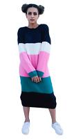 ex ASOS Colour Block Stripe Oversize Knitted Jumper Midi Dress RRP £32 Szs 4-18
