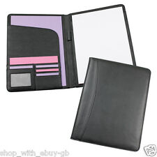 BLACK A4 EXECUTIVE CONFERENCE FOLDER PORTFOLIO PU LEATHER LOOK FREE NOTE PAD