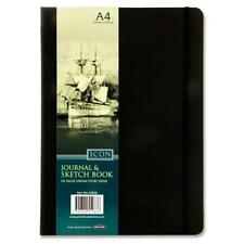 A4 Plain Sketching Art Journal Ivory Paper Note Sketch Book - Black 192 Pages