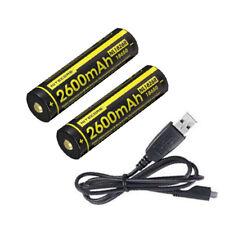 2xNitecore NL1826R 2600mAH 3.7V 18650 USB Rechargeable Battery & USB Cord