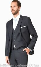TED BAKER Charcoal Grey 3 PIECE 100% Wool Suit + TB Suit Carrier UK38R BNWoT