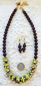 GARNET BEAD, VINTAGE AFRICAN MILLEFIORI TRADE BEAD necklace, earrings 18 1/2""