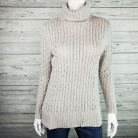 J. Crew Factory Light Gray XO Cable Knit Turtleneck Sweater Women's Sz. XS