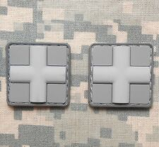3D PVC MEDIC CROSS EMT US ARMY PARAMEDIC MEDICAL ACU LIGHT HOOK 2 PATCH