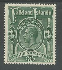 FALKLAND IS SG80 THE 1923 GV 3/- SLATE GREEN LIGHTLY MOUNTED MINT CAT £100
