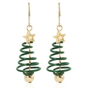 Women's Gold Plated Spiral Christmas Tree Drop Earrings Festive Xmas
