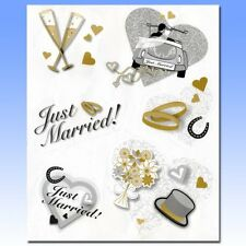 6 Pack JUST MARRIED Car Window Stickers Clings Bride Groom Wedding Champagne