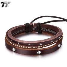 TT Multi BrownLeather Bling Bracelet Wristband (LB304H) NEW Arrival